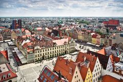 Air view panorama of Wroclaw Stock Photo