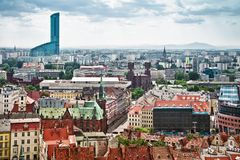 Air view panorama of Wroclaw Royalty Free Stock Image