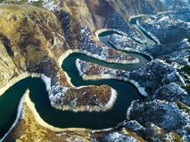 Air view of Uvac river meanders royalty free stock photography