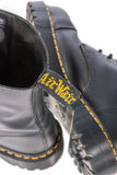 Air Wair tag on a Dr. Martens black leather work boot Royalty Free Stock Images