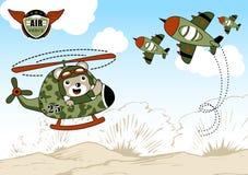 Air war cartoon. Animal pilot on military helicopter , vector cartoon illustration. EPS 10 Royalty Free Stock Photos