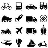Air, water and land transportation icon set. Air, water, land mode of transportation icon set Stock Photography