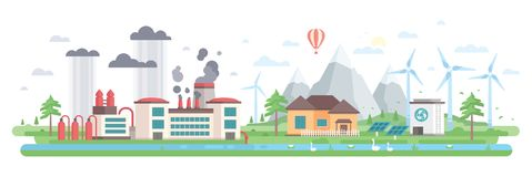 Air and water pollution - modern flat design style vector illustration Stock Photos