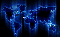 Air Ways World Wide. Cool Glowing Blue World Map with Air Ways - Global Airlines Destinations. Small 3D Planes Flying Above the Map. Popular Cities as Points Royalty Free Stock Image
