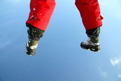 In the air (weightlessness). Two hoof on the sky background Royalty Free Stock Images