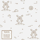 Air windmill travel seamless pattern. Thin line icon.  Stock Images