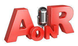 On Air word and microphone concept. 3d illustration isolated on a white background Royalty Free Stock Photos