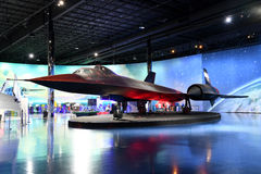 Air Zoo, Kalamazoo, Michigan. Kalamazoo, MI, USA – June 23, 2016: Lockhhed SR-71B Blackbird on display at the Air Zoo Museum in Kalamazoo, Michigan royalty free stock photography