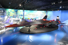 Air Zoo, Kalamazoo, Michigan. Kalamazoo, MI, USA – June 23, 2016: Lockhhed SR-71B Blackbird on display at the Air Zoo Museum in Kalamazoo, Michigan Stock Images