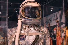 Air Zoo, Kalamazoo, Michigan. Kalamazoo, MI, USA – June 23, 2016: NASA Mercury space suit on display at the Air Zoo Museum in Kalamazoo, Michigan Royalty Free Stock Image