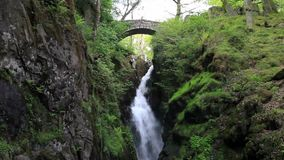 Aira Force Waterfall. The waterfall is situated a short distance from Ullswater, Cumbria in the English Lake District stock video