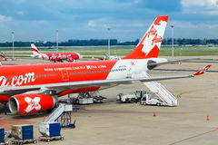 AirAsia στη Μπανγκόκ, Ταϊλάνδη Στοκ Εικόνα