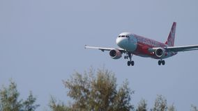 AirAsia Airbus A320 landing stock footage
