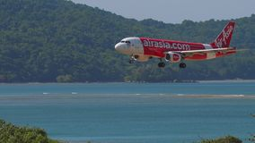 AirAsia Airbus A320 landing stock video footage
