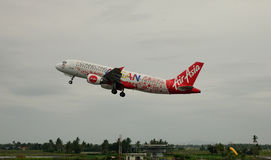 AirAsia airplane taking off at the airport in Kalibo, Philippines Stock Images