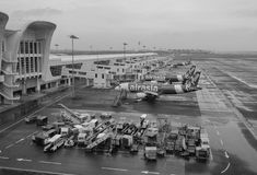 AirAsia airplanes docking in KLIA Airport, Malaysia Stock Photo