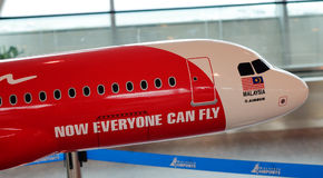 AirAsia commercial plane model at KLIA airport, Malaysia Stock Photos