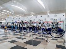 AirAsia-Incheckbalies in de Internationale Luchthaven van Kualanamu royalty-vrije stock afbeeldingen