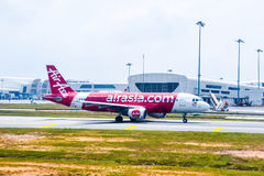AirAsia Malasia Airbus 320 listo para saca Imagen de archivo libre de regalías