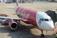 Airasia Passengers airplane. Passengers airplane Airbus A320-200 operated by AirAsia at the Don Mueang airport Royalty Free Stock Image