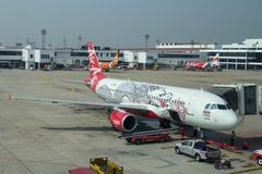Airasia Passengers airplane. Passengers airplane Airbus A320-200 operated by AirAsia at the Don Mueang airport Stock Image