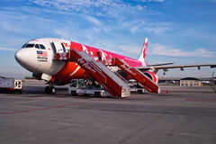 AirAsia plane. Landed at the Low Cost Carrier Terminal in Kuala Lumpur Royalty Free Stock Photography