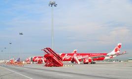 Airasia planes docking at KLIA2 airport in Kuala Lumpur, Malaysia Royalty Free Stock Images