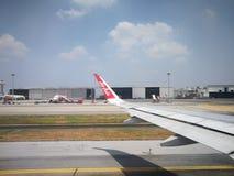 AirAsia prepare to take off in Bangkok Thailand stock photography