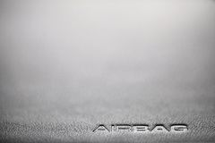 Airbag. The word Airbag is written on a car's dashboard Stock Photo