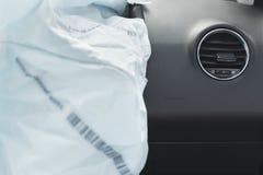 Airbag do acidente de viação, azul, bolsa a ar da inscrição Foto de Stock