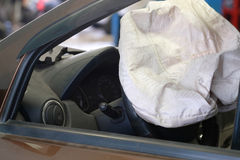 Airbag exploded. At a car accident Stock Photo