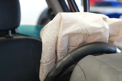 Airbag exploded. At a car accident Royalty Free Stock Photography
