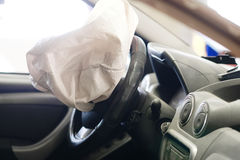 Airbag exploded. At a car accident Royalty Free Stock Photo