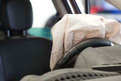 Airbag exploded. At a car accident Royalty Free Stock Photos