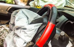 Airbag exploded. At a car accident,Car crash and airbag working Royalty Free Stock Photos
