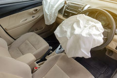 Airbag explosion damaged Stock Photo