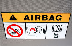 Airbag instruction in the vehicle Royalty Free Stock Photography
