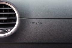 Airbag podpisuje wewnątrz samochód obrazy stock