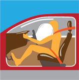 Airbag Seat belt works Stock Image