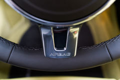 Airbag sign. A Airbag sign on steering wheel Royalty Free Stock Photos
