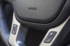 Airbag sign on the steering wheel of the vehicle Royalty Free Stock Images