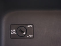 Airbag switch. Car airbag switch off on a dashboard stock photo