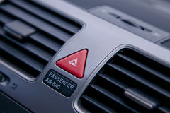 Airbag warning. The warning button whit the airbag sing Stock Photography
