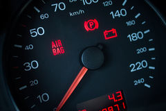 Airbag warning light. Car dashboard in closeup Stock Photos