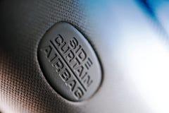 Airbagen undertecknar in bilen Fotografering för Bildbyråer