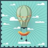 Airballon a isolé en ciel avec la carte de voeux colorée de nuages de blanc avec le cadre onduleux bleu-foncé illustration stock