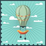 Airballon isolated in sky with white clouds colorful greeting card with dark blue wavy frame. stock illustration