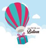 Airballoon projekt nad cloudscape backgroundvector ilustracją royalty ilustracja