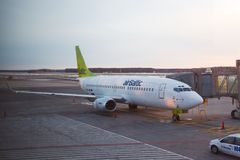 Airbaltic Airliner. RIGA, LATVIA - MARCH 5: Air Baltic Boeing 737 airliner at Riga airport, March 5th 2014. Air Baltic is the Latvian flag carrier airline Royalty Free Stock Photos