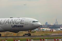 Airbas A330 closeup at the airport royalty free stock photos